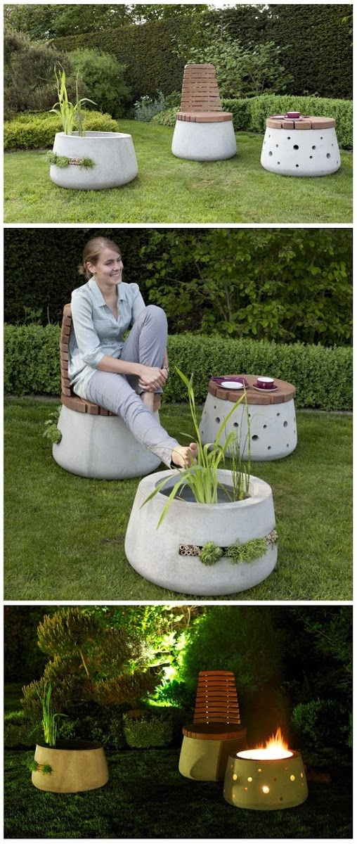 Beautiful Concrete Garden Furniture- fire pit and matching chairs. love!