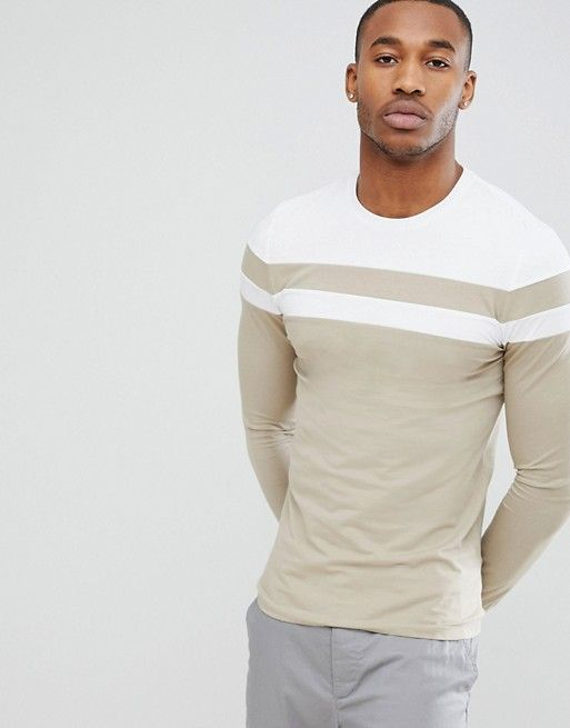 09112e9c2695d4 DESIGN muscle fit long sleeve t-shirt with cut and sew in beige in ...