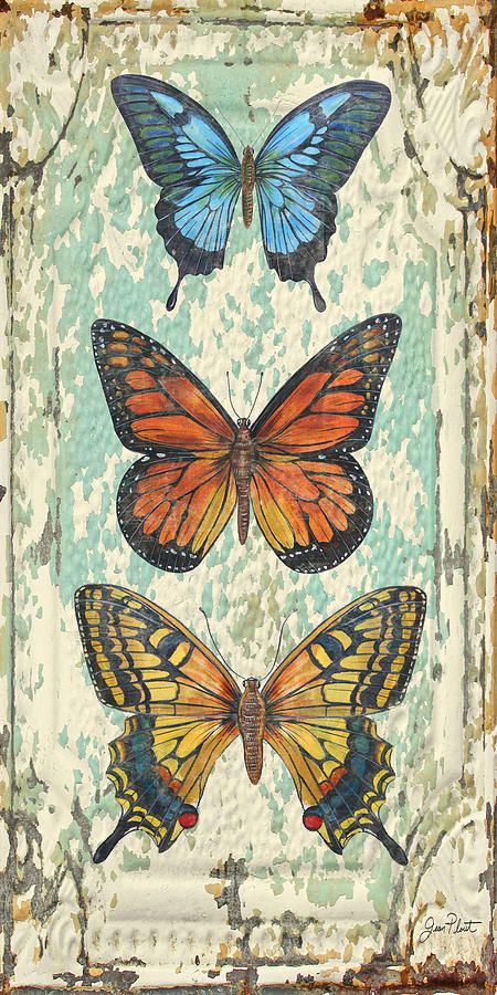 Lovely Butterfly Trio On Tin Tile Painting by Jean Plout - Lovely Butterfly Trio On Tin Tile Fine Art Prints and Posters for Sale