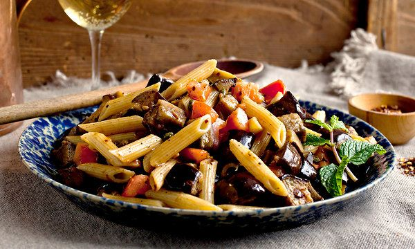 Recipe: Penne with roasted eggplant, chile and mint || Photo: Andrew ...