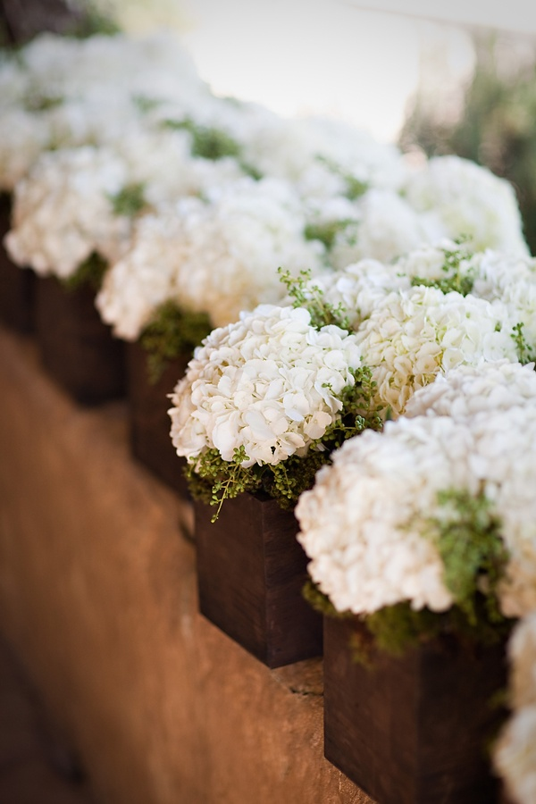 Looking to use hydrangeas for your spring wedding? This easy design uses white hydrangeas and a bit of greenery (some herbs like thyme would be great) arranged in wooden boxes. It's a clean, fresh look that is perfect for a spring wedding (or really any time of year!)