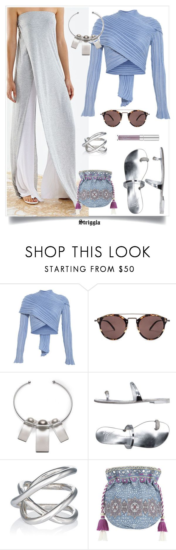 """""""Strapless Overall"""" by striggla ❤ liked on Polyvore featuring Oliver Peoples, Alexis Bittar, Giuseppe Zanotti, Jennifer Fisher, Monsoon, Silver, jumpsuit, overall and polyvoreeditorial"""