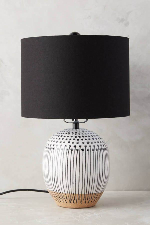Anthropologie Uteki Painted Lamp Ensemble  Ceramic, linen hardbacked shade. [ad]