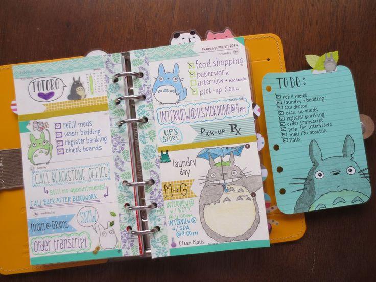 Claireabellemakes: Filofax Inspiration: Totoro Filofax Decoration