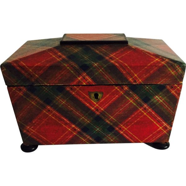 Victorian Tartan Ware Tea Caddy ❤ liked on Polyvore featuring home, kitchen & dining and food storage containers