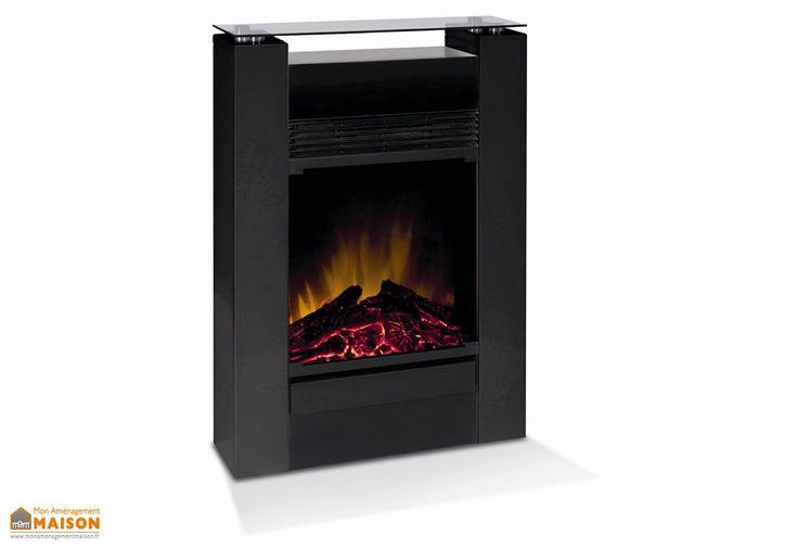 cheminée électrique noire avec foyer décoratif et radiateur convecteur 1500 Watts