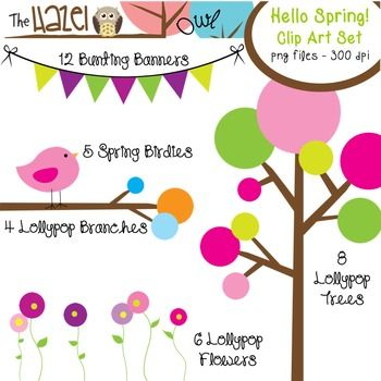 Ready for spring?  Hello Spring Clip Art Set!  52 Graphics!!  $