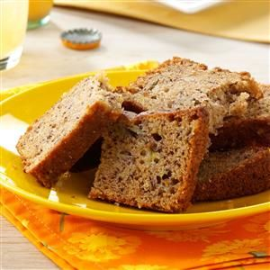 "Moist Pineapple Banana Bread Recipe -""Our four kids like slices of this moist tropical-tasting banana bread for breakfast,"" comments Mary Watkins of Chaska, Minnesota. ""I sometimes bake it in mini loaf pans, then freeze the loaves so we can enjoy a small portion at a time."""