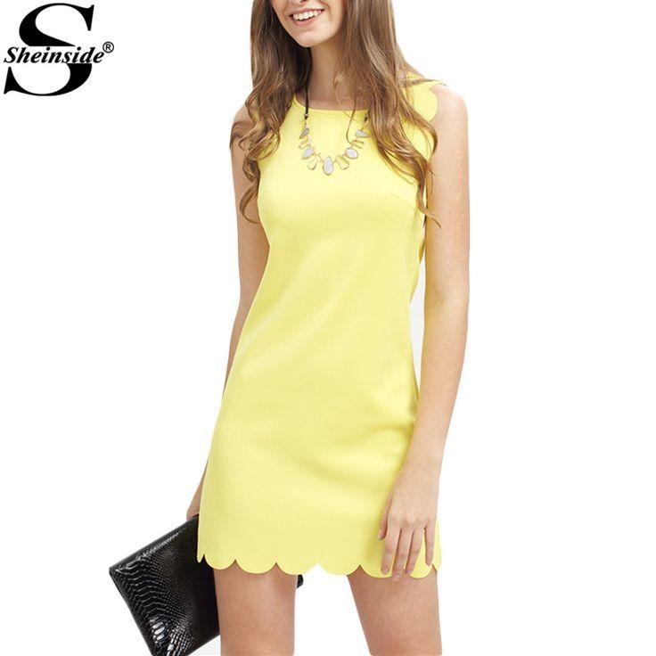 Women Summer Fitness Dresses For Woman New Ladies Royal Yellow Sleeveless Crew Neck Scallapped Hem Mini Dress