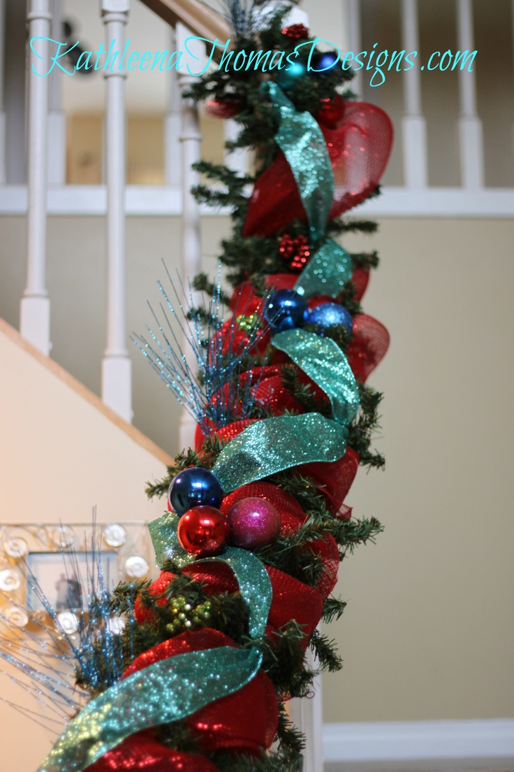 Describing beautiful christmas decorations - Christmas Stair Decorations In Red Blue Turquoise With Sinamay And Picks And Ornament