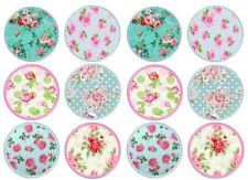 12 Floral Edible Rice/Wafer Paper Cake/Cucake Toppers