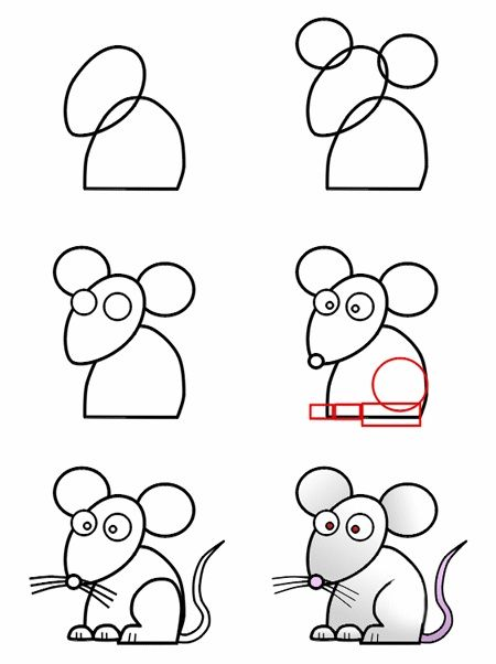 A cute cartoon mouse made from simple basic shape that anyone can learn how to | http://cartoonphotocollections.blogspot.com
