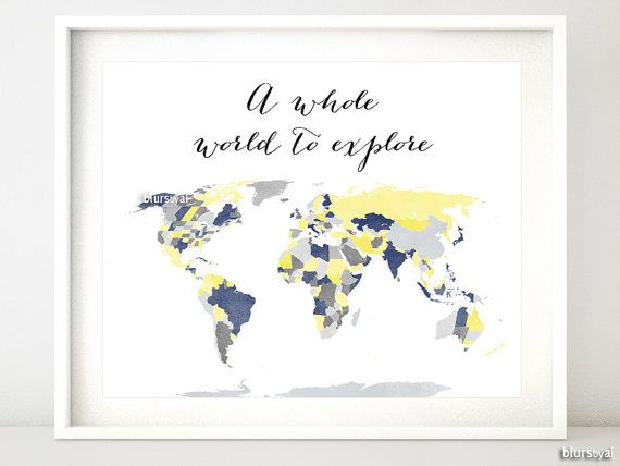 Printable World Map With Countries Us States Canadian Provinces Australian States Shades Of Yellow And Grey Baby Boy Nursery Map137 007