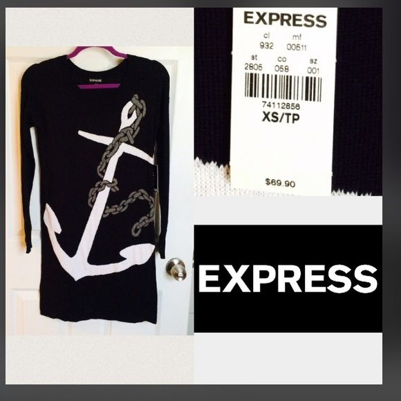 SPRING SALE!!! NWT EXPRESS Anchor Dress Black long sleeve sweater anchor dress CURRENT SALE, Retail $69, Originally $35, NOW $25  Great condition 10/10 BRAND NEW with tags ❤️Feel free to make an offer!  No Trades  Average 2 days till Shipping  Item will arrive clean, pressed or steamed and arrive as promised Express Dresses Long Sleeve
