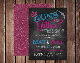 Guns or Glitter Gender Reveal Invitation by ChevronDreams on Etsy