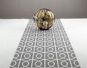 Modern Grey Table Runner,  Grey Tablecloth - Grey  Color, White Color , Table Runner Grey 60 inch long. $40.00, via Etsy.