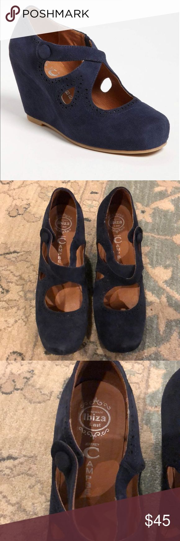 """Jeffrey Campbell Leigh Navy Wedges, 9.5 Very comfortable Jeffrey Campbell wedges. Worn and in good condition! Sold out!  Approx. heel height: 3"""" with 1/2"""" platform. Suede upper/leather lining/synthetic sole. By Jeffrey Campbell; imported. Jeffrey Campbell Shoes Wedges"""