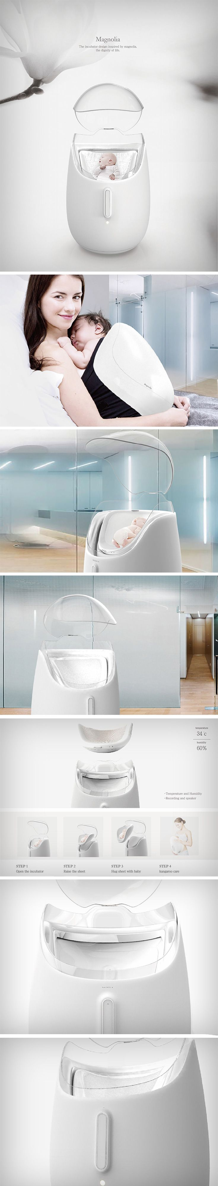"""An excellent example of applied biomimicry, Magnolia explores marrying the concept of """"kangaroo care"""" with the common incubator in order to prevent a variety of infant disorders while promoting health and well-being post birth."""