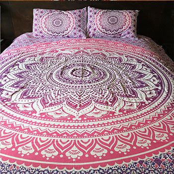Beautiful pink and purple ombre bedding is available as a duvet cover, flat sheet, pillowcases or any combination of the three.This makes a great gift for the boho lover in your life! Cover ties shut.