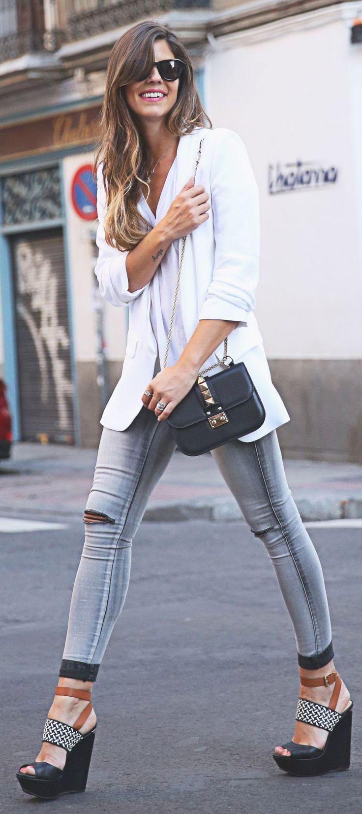 Buylevard (SS 15) Jeans + Zara Blazer & Top + Jessica Simpson Sandals + Valentino Bag