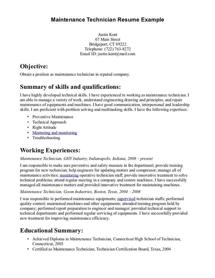 Maintenance Technician Resume - http://www.resumecareer.info/maintenance-technician-resume-11/