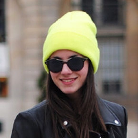 American apparel neon yellow beanie Worn a handful of times last winter! Great condition. Super warm and looks so cute with an all black outfit. American Apparel Accessories Hats