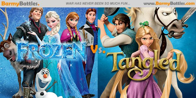 Frozen Vs Tangled. People have been drawing a lot of comparisons between Frozen and Tangled. Which one holds up? #frozen #Tangled #disney #movie CLICK HERE TO VOTE: http://www.barmybattles.com/2014/01/31/frozen-vs-tangled/