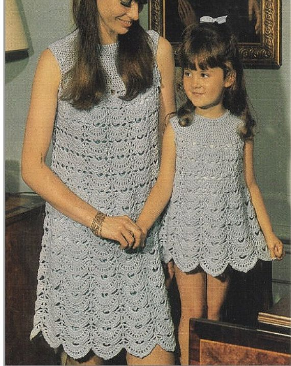 Crochet DRESS Pattern Vintage 70s Crochet Mom and Daughter Dresses Pattern…