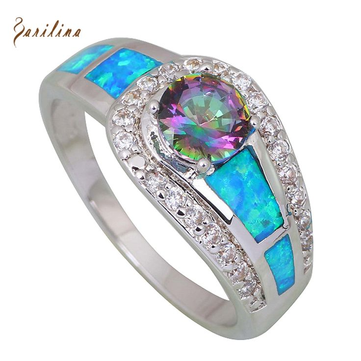 Fashion women ring Pink Rainbow Mystic Cubic Zirconia Opal 925 Sterling Silver Overlay jewelry ring size 5 6 6.5 7 7.5 8  9 R409