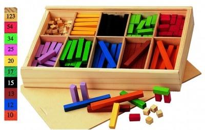 Caja con compartimentos para clasificar los distintos valores. La unidad es de 1 cm3. Con 300 piezas Todo en madera.  Ref: 0211812 - REGLETAS 1X1 MADERA CLASIFICADAS  PVP: 12,85 €