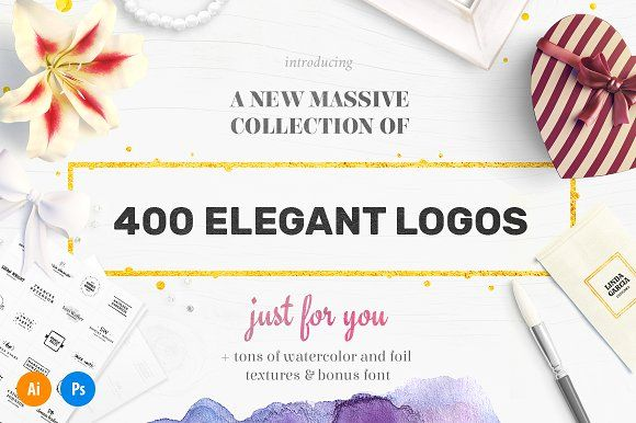 Elegant Logo Bundle - 400 Logos by AlienValley on @creativemarket
