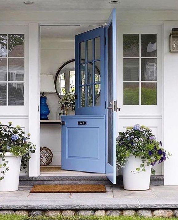 dutch door, cornflower blue, white plant pots, white house,white trim