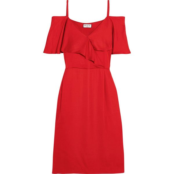 Paul & Joe Cold-shoulder satin dress (£355) ❤ liked on Polyvore featuring dresses, red dress, evening dresses, red summer dress, red holiday dress and evening cocktail dresses