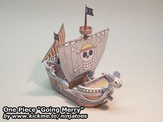 "One Piece ""Going Merry"" papercraft: http://ninjatoes.wordpress.com/2004/08/06/one-piece-going-merry/"