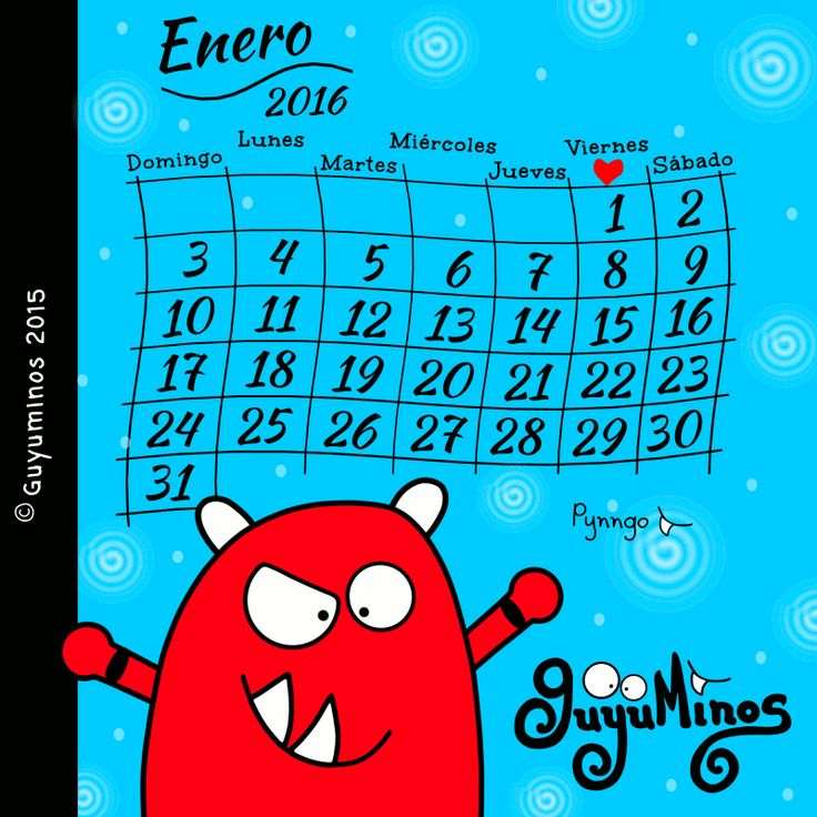 Enero... Sorpréndenos! :) Esperamos que sea un buen Mes para tod@s! #calendario   #mes   #enero2016   #enero   #ilustracion   #guyuminos   #pynngo   Calendario Enero 2016 - Guyuminos© http://guyuminos.blogspot.mx/2015/12/calendario-enero-2016-guyuminos.html