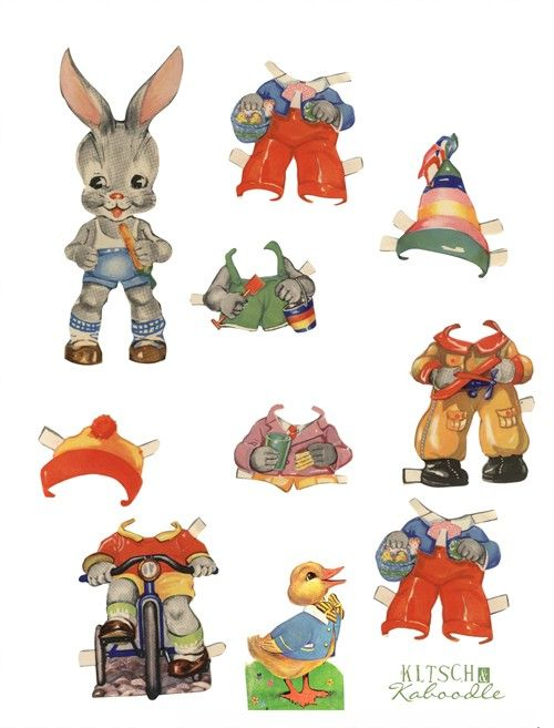 movable easter bunny paper doll 841 best images about paper doll animals on 6940