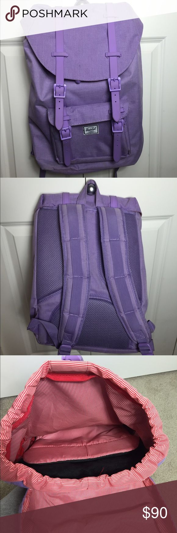 """Herschel Backpack - Little America - mid volume Beautiful lavender backpack for sale! Worn a few times so there is a small grass stain on the front. (Barely noticeable) Super cute for school, weekend get aways, backpacking, or everyday use! Size: 11""""W x 17""""H x 4""""D Herschel Supply Company Bags Backpacks"""