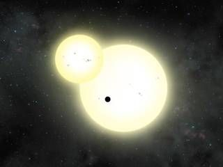 Artist's impression of the simultaneous stellar eclipse and planetary transit events on Kepler-1647