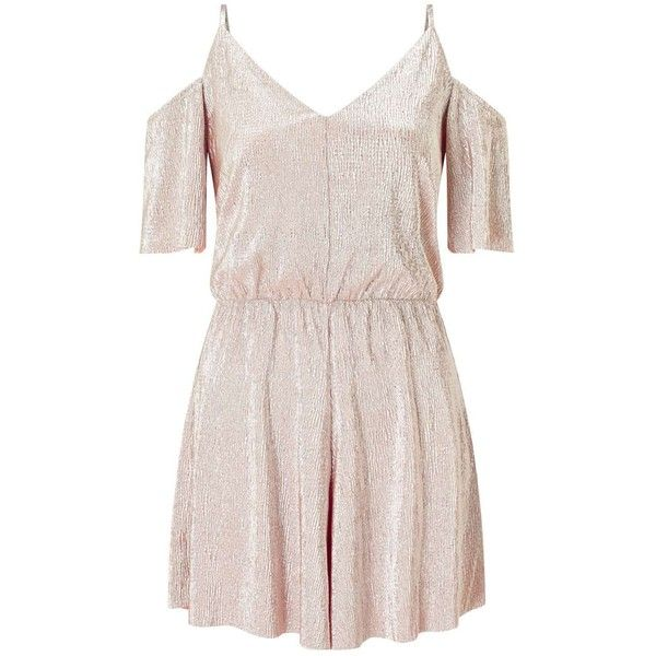 Miss Selfridge Pink Metallic Playsuit (€53) ❤ liked on Polyvore featuring jumpsuits, rompers, pink, miss selfridge, playsuit romper, pink rompers, metallic romper and pink romper