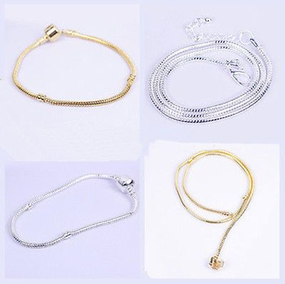 Silver Gold Snake Chain Bracelet / Necklace Fit European Charms Big Hole Beads