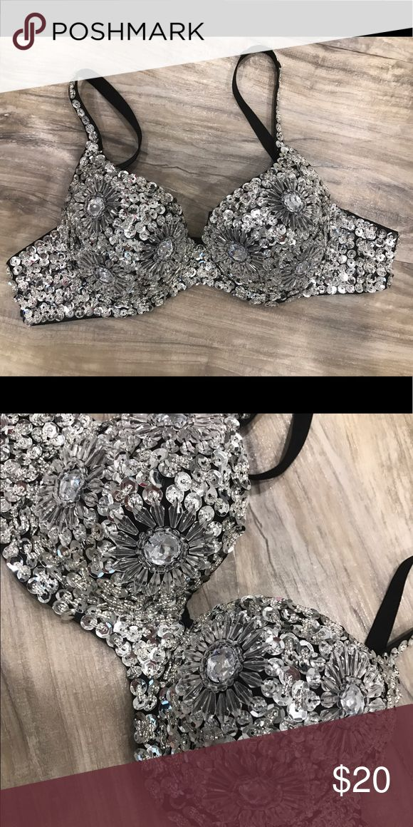 BLING Bra. Size 32/34 B Bling bra perfect for EDM, RAVE, festive or concerts! No  tags. Intimates & Sleepwear Bras