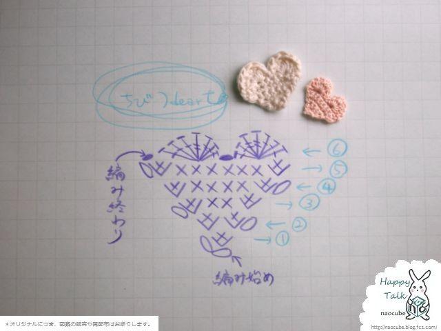 ちびちびハートのモチーフ(ストラップやピアスに♪)の作り方|編み物|編み物・手芸・ソーイング | アトリエ|手芸レシピ16,000件!みんなで作る手芸やハンドメイド作品、雑貨の作り方ポータル