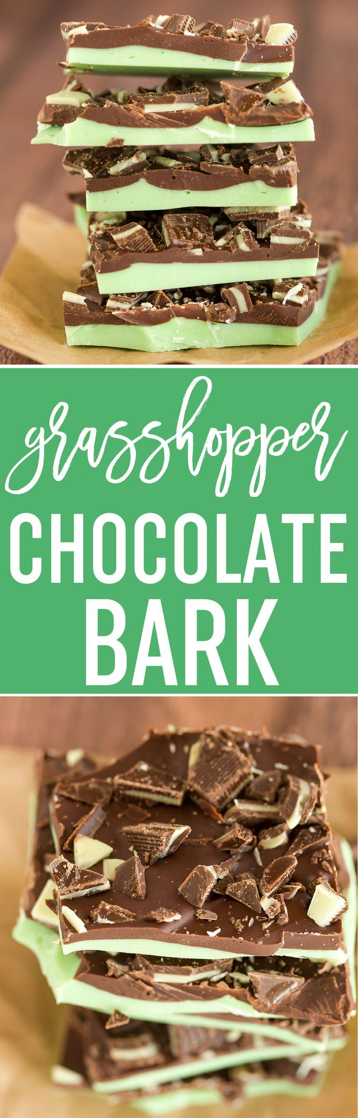 Grasshopper Chocolate Bark :: It combines the chocolate and mint flavors from the popular cocktail, minus the alcohol. Make it for your St. Patrick's Day party! via @browneyedbaker
