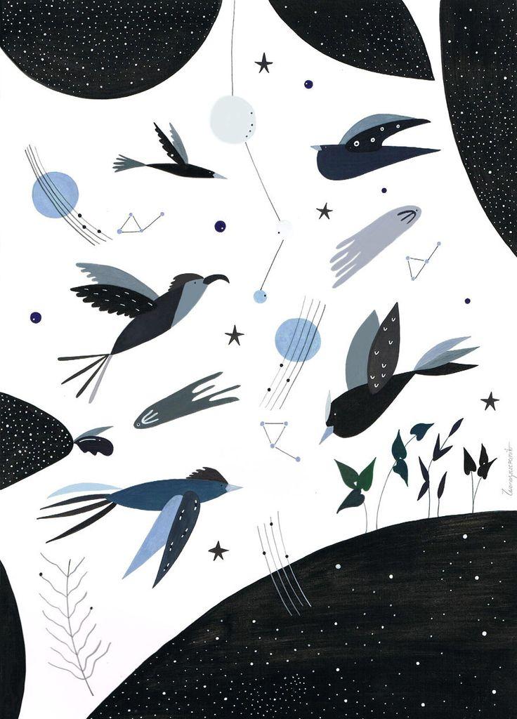 Birds in cosmos.  http://www.iwonaszczepanik.com/