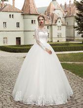 2016 Elegante Manga Comprida Do Vestido de Casamento vestido de Baile Lace Applique vestido de Casamento Nupcial Barato Projeto Do Jardim Frete Grátis alishoppbrasil