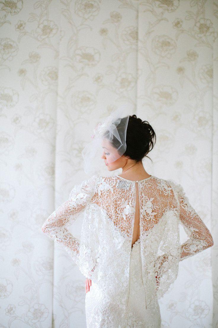 Lace flutter-back bridal bolero: http://www.stylemepretty.com/2016/02/17/trending-bridal-boleros-thatll-blow-your-mind/