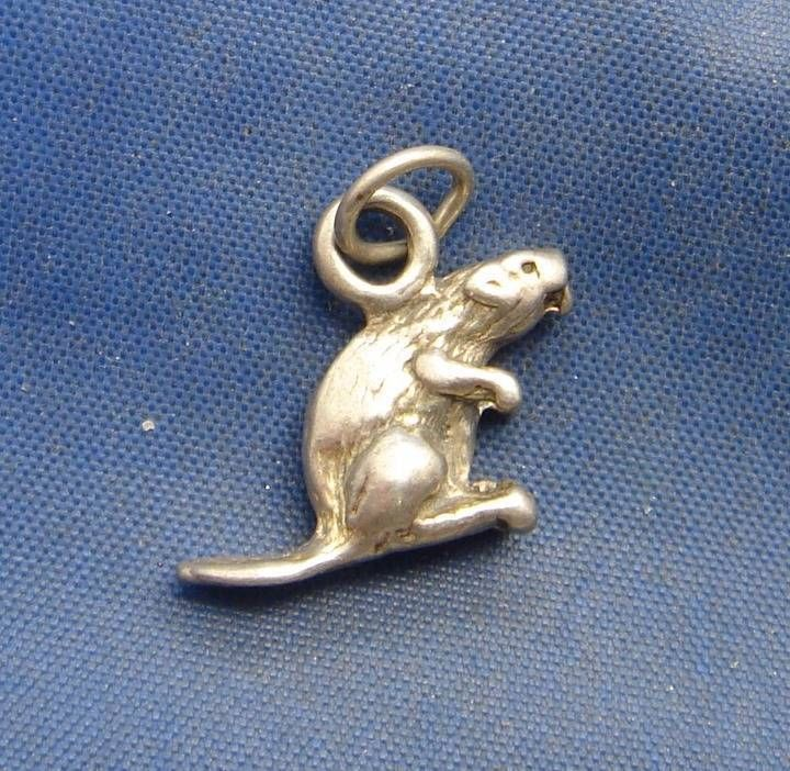 Vintage Sterling Silver Animal BEAVER Charm