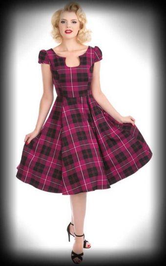 Hearts and Roses Kleid - Schottenmuster   Vichy, lila dress plaid print pink purple colour jurk schotse ruit roze paarse kleur