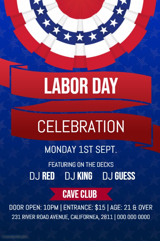 labor day party flyer template with patriotic colors labor day