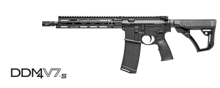 """The Daniel Defense DDM4V7S is our latest short-barreled rifle (SBR) to feature the M-LOK® attachment technology with the Daniel Defense MFR XS 10.0 rail. Built around a free-floating, Cold Hammer Forged 11.5"""" barrel, the V7S delivers optimal maneuverability, reliability, accuracy, and terminal ballistics using a wide variety of ammunition. The carbine length gas system provides smooth and reliable cycling under harsh conditions and reduces perceived recoil. A free-floating MFR XS 10.0 rail…"""